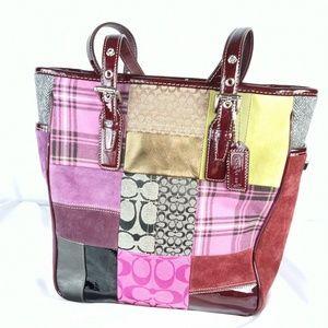 Coach suede patchwork authentic bag